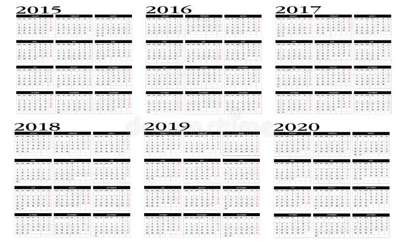Ημερολόγιο 2015 ως 2020 ελεύθερη απεικόνιση δικαιώματος
