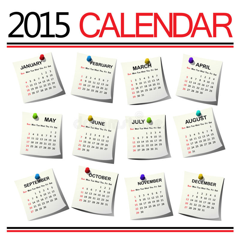2015 ημερολόγιο απεικόνιση αποθεμάτων