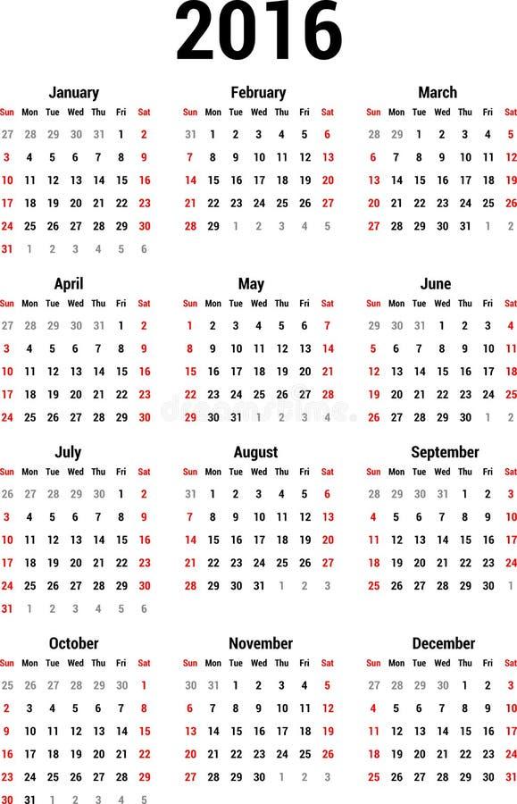 Ημερολόγιο 2016 απεικόνιση αποθεμάτων