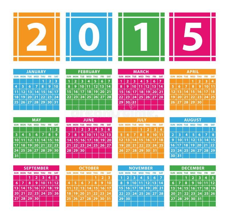 Ημερολόγιο 2015 ελεύθερη απεικόνιση δικαιώματος