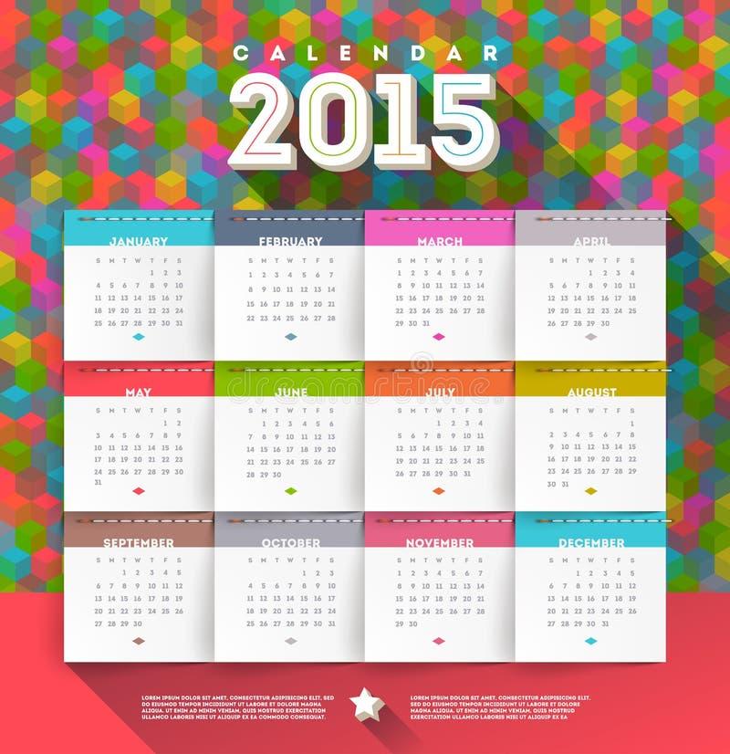 Ημερολόγιο 2015 διανυσματική απεικόνιση