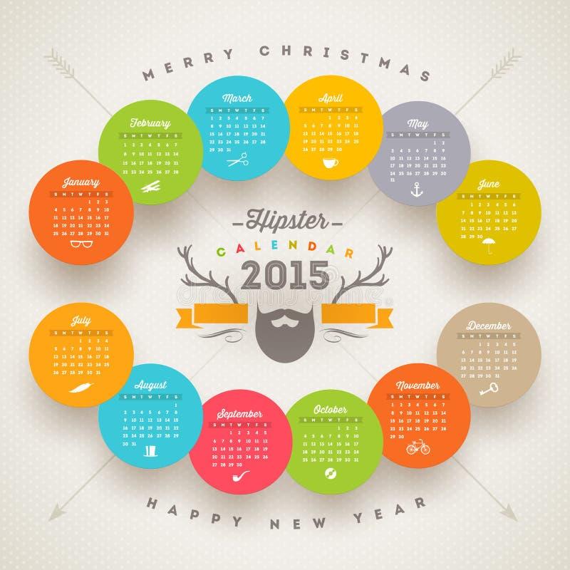 Ημερολόγιο 2015 Hipster απεικόνιση αποθεμάτων