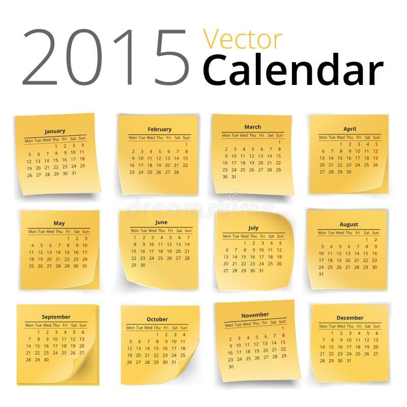Ημερολόγιο Stiky διανυσματική απεικόνιση
