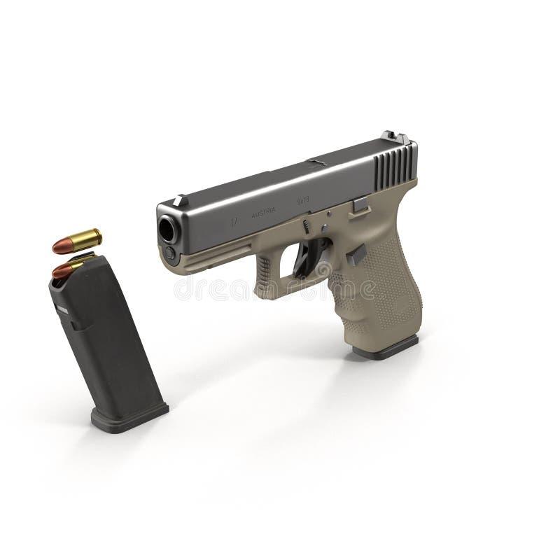 Ημιαυτόματο πιστόλι στην άσπρη τρισδιάστατη απεικόνιση διανυσματική απεικόνιση