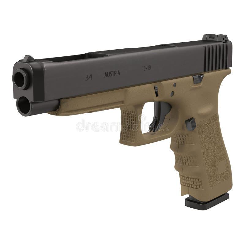 Ημιαυτόματο πιστόλι στην άσπρη τρισδιάστατη απεικόνιση ελεύθερη απεικόνιση δικαιώματος