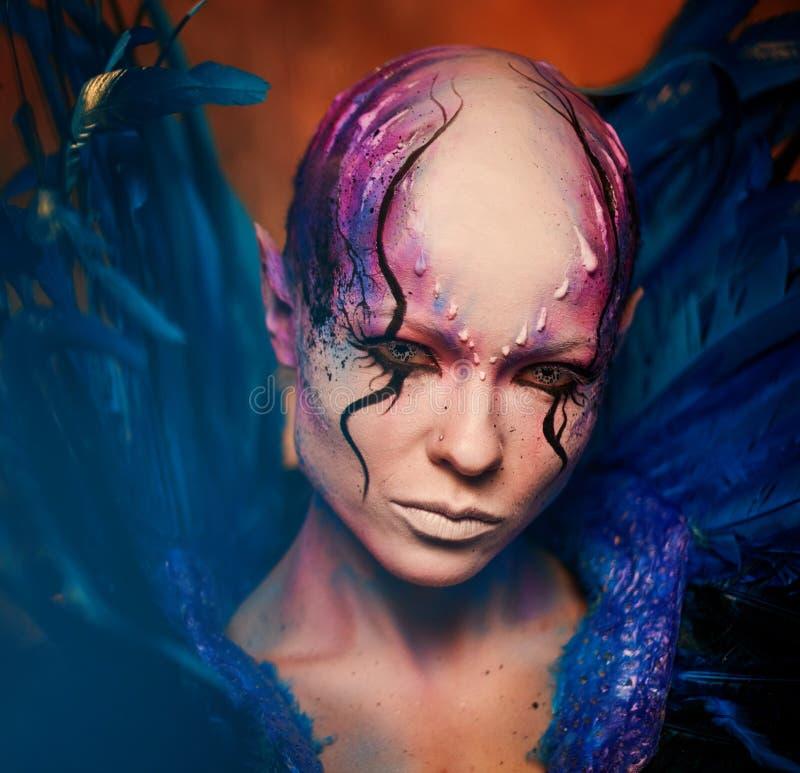 δημιουργικό makeup Γυναίκα από τη διαστημική έννοια στοκ εικόνα