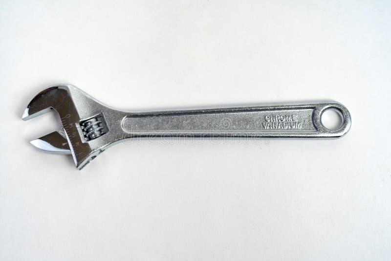 Ημισεληνοειδές γαλλικό κλειδί που απομονώνεται στον άσπρο χάλυβα 8 ίντσας στοκ εικόνες με δικαίωμα ελεύθερης χρήσης