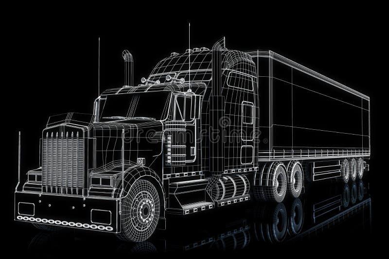 Ημι απεικόνιση φορτηγών διανυσματική απεικόνιση