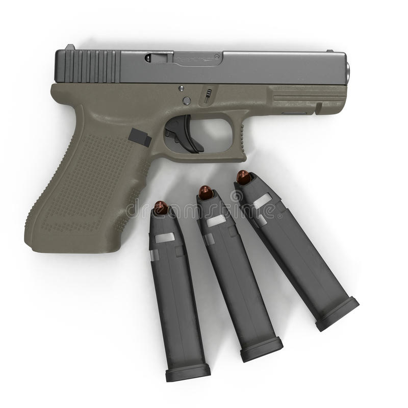 Ημι αυτόματο πιστόλι με το περιοδικό και πυρομαχικά σε ένα λευκό τρισδιάστατη απεικόνιση ελεύθερη απεικόνιση δικαιώματος