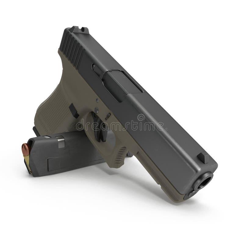 Ημι αυτόματο πιστόλι με το περιοδικό και πυρομαχικά σε ένα λευκό τρισδιάστατη απεικόνιση απεικόνιση αποθεμάτων
