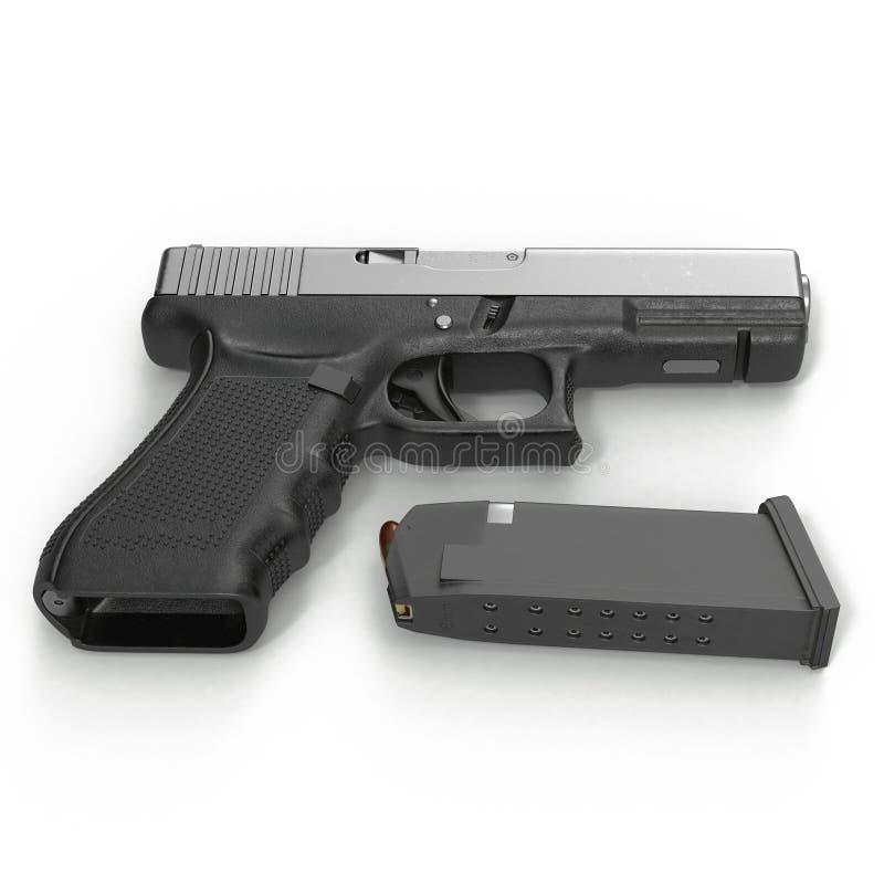 Ημι αυτόματο πιστόλι με το περιοδικό και πυρομαχικά σε ένα λευκό τρισδιάστατη απεικόνιση διανυσματική απεικόνιση