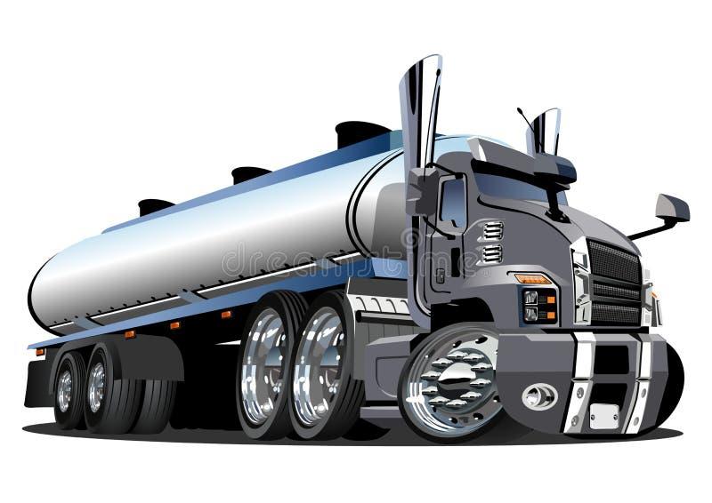Ημι φορτηγό βυτιοφόρων κινούμενων σχεδίων που απομονώνεται στο άσπρο υπόβαθρο διανυσματική απεικόνιση