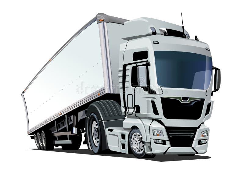 Ημι φορτηγό φορτίου κινούμενων σχεδίων που απομονώνεται στο άσπρο υπόβαθρο ελεύθερη απεικόνιση δικαιώματος
