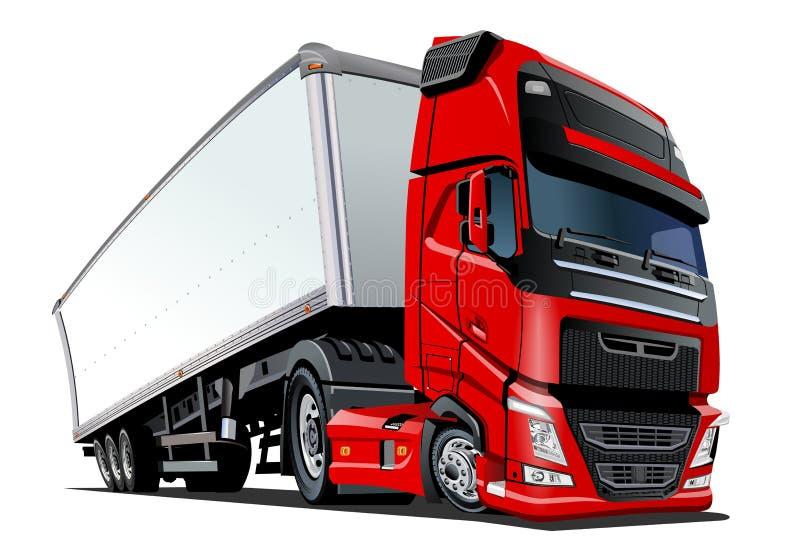 Ημι φορτηγό φορτίου κινούμενων σχεδίων που απομονώνεται στο άσπρο υπόβαθρο απεικόνιση αποθεμάτων