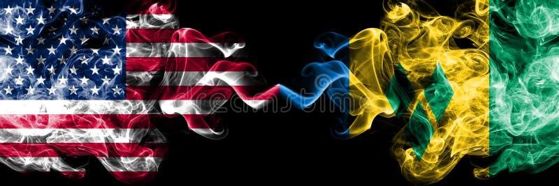 Ηνωμένες Πολιτείες της Αμερικής εναντίον των καπνώών απόκρυφων σημαι διανυσματική απεικόνιση