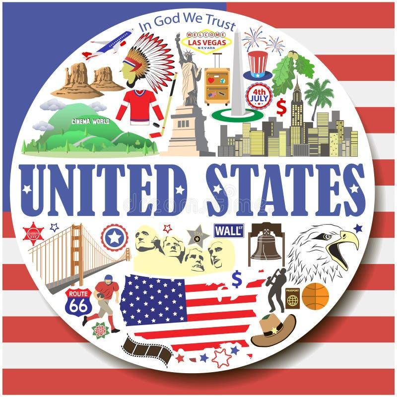 Ηνωμένες Πολιτείες γύρω από το υπόβαθρο Το διάνυσμα χρωμάτισε τα επίπεδα εικονίδια και τα σύμβολα καθορισμένα διανυσματική απεικόνιση