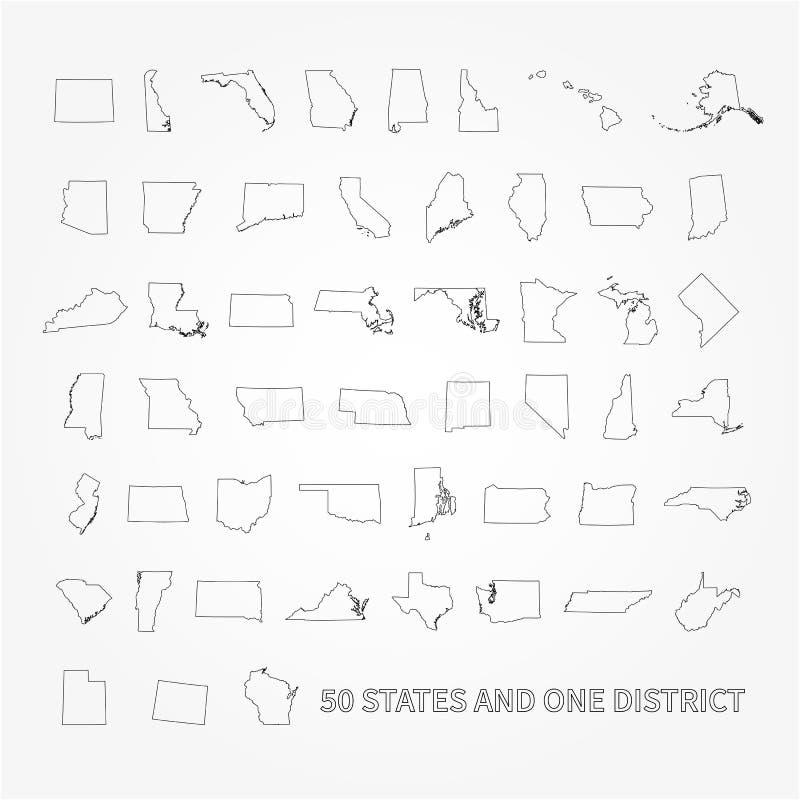 Ηνωμένες Πολιτείες της Αμερικής 50 κράτη και 1 ομοσπονδιακή περιοχή ΗΠΑ ST διανυσματική απεικόνιση