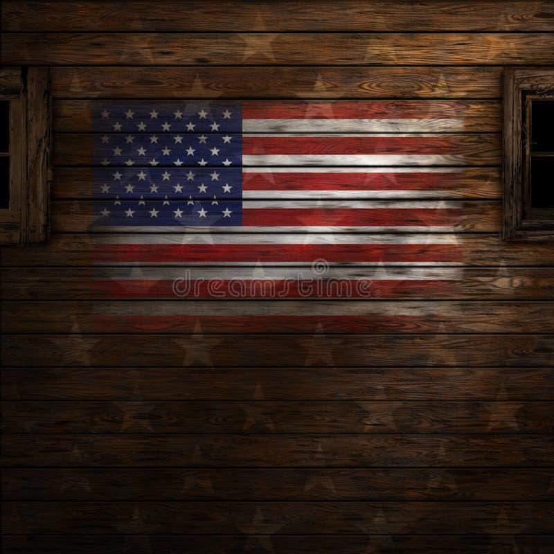 Ηνωμένη σημαία χρωματίζω στον παλαιό ξύλινο τοίχο απεικόνιση αποθεμάτων