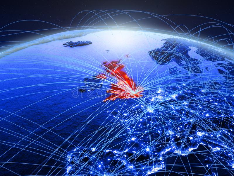 Ηνωμένο Βασίλειο μπλε ψηφιακός πλανήτης Γη με το διεθνές δίκτυο που αντιπροσωπεύει την επικοινωνία, το ταξίδι και τις συνδέσεις τ στοκ εικόνες