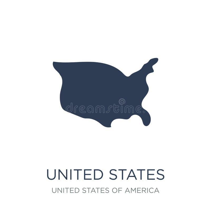 Ηνωμένο εικονίδιο Καθιερώνον τη μόδα επίπεδο διανυσματικό Ηνωμένο εικονίδιο στο whi διανυσματική απεικόνιση