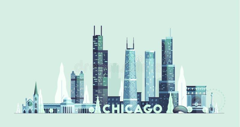 Ηνωμένο συρμένο πόλη διάνυσμα οριζόντων του Σικάγου διανυσματική απεικόνιση