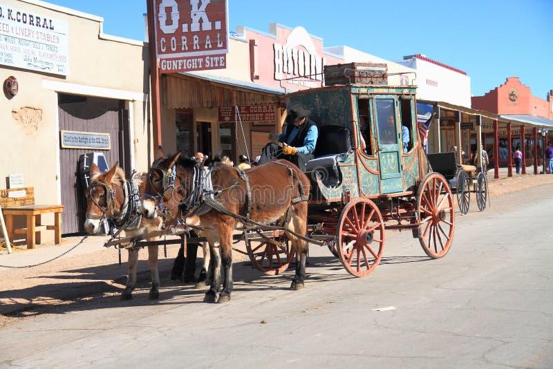 ΗΠΑ, Αριζόνα/ταφόπετρα: Παλαιά δύση - ταχυδρομική άμαξα στοκ εικόνες με δικαίωμα ελεύθερης χρήσης