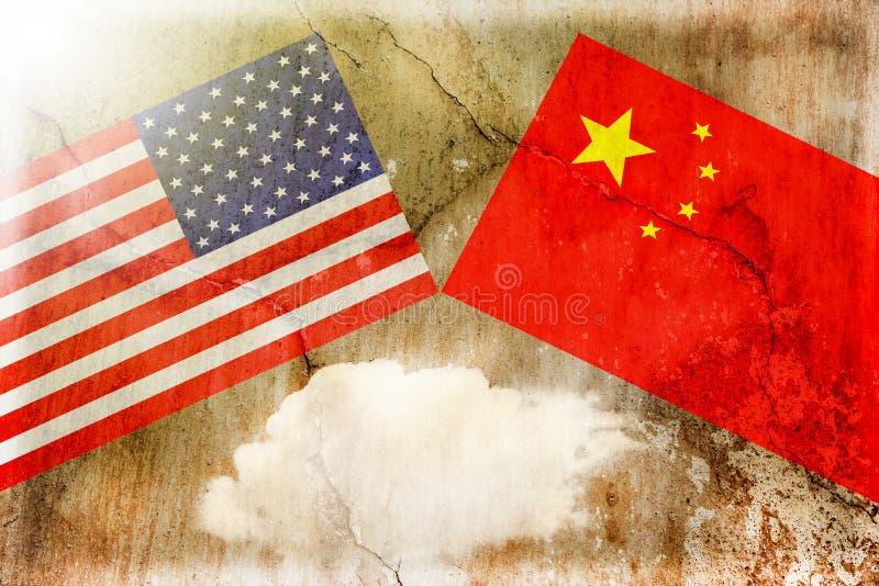 ΗΠΑ εναντίον της Κίνας Έννοια εμπορικών πολέμων στοκ εικόνα