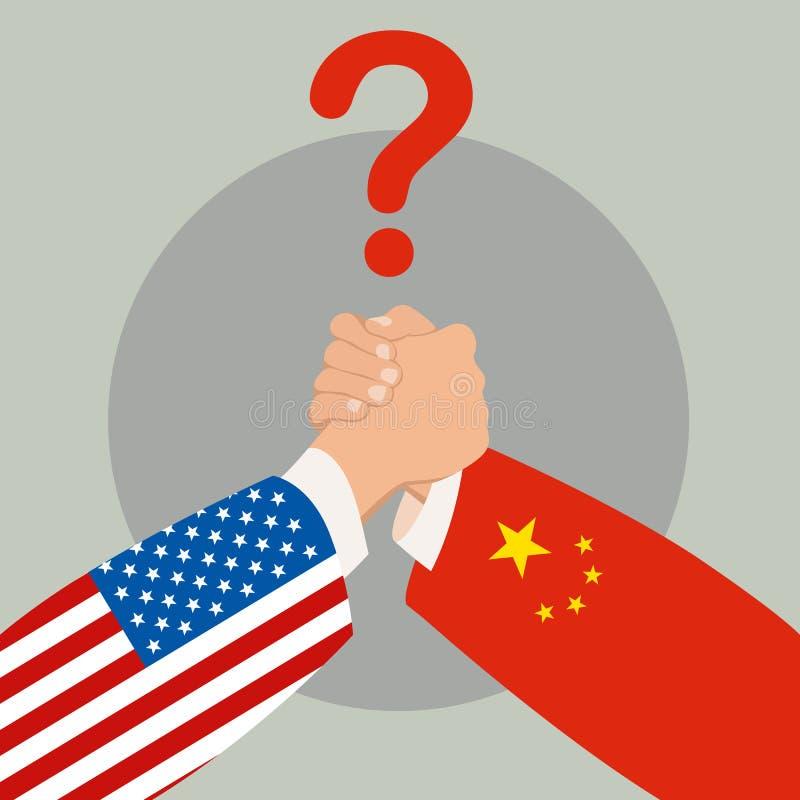 ΗΠΑ εναντίον της πολιτικής και του ανταγωνισμού της Κίνας Πάλη βραχιόνων επίσης corel σύρετε το διάνυσμα απεικόνισης ελεύθερη απεικόνιση δικαιώματος