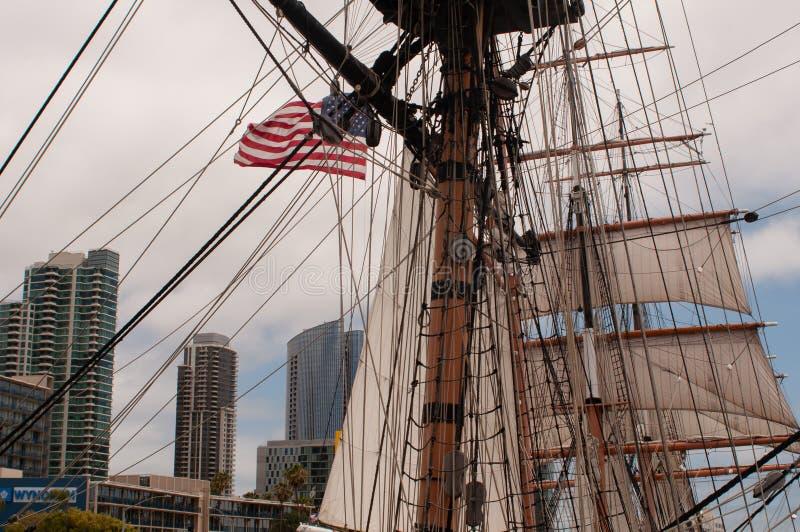 ΗΠΑ, Ηνωμένες Πολιτείες, Αμερική, Καλιφόρνια, Σαν Ντιέγκο, πόλη, θαλάσσιο μουσείο, πλέοντας βάρκα, στοκ εικόνες με δικαίωμα ελεύθερης χρήσης