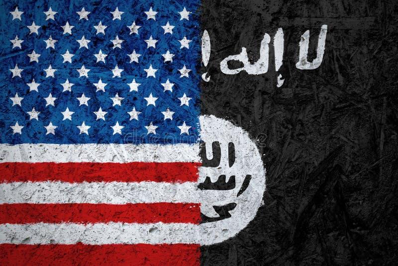 ΗΠΑ και ισλαμικό κράτος του Ιράκ και των σημαιών Levant στοκ εικόνα με δικαίωμα ελεύθερης χρήσης