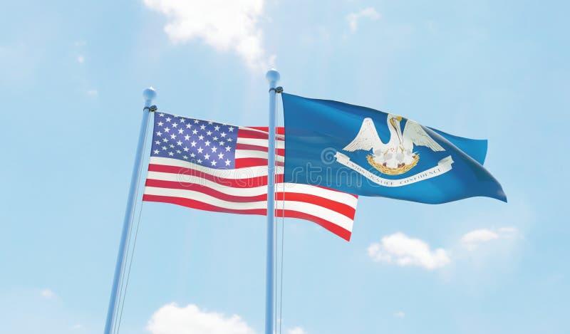 ΗΠΑ και κράτος Λουιζιάνα, δύο σημαίες που κυματίζουν ενάντια στο μπλε ουρανό διανυσματική απεικόνιση