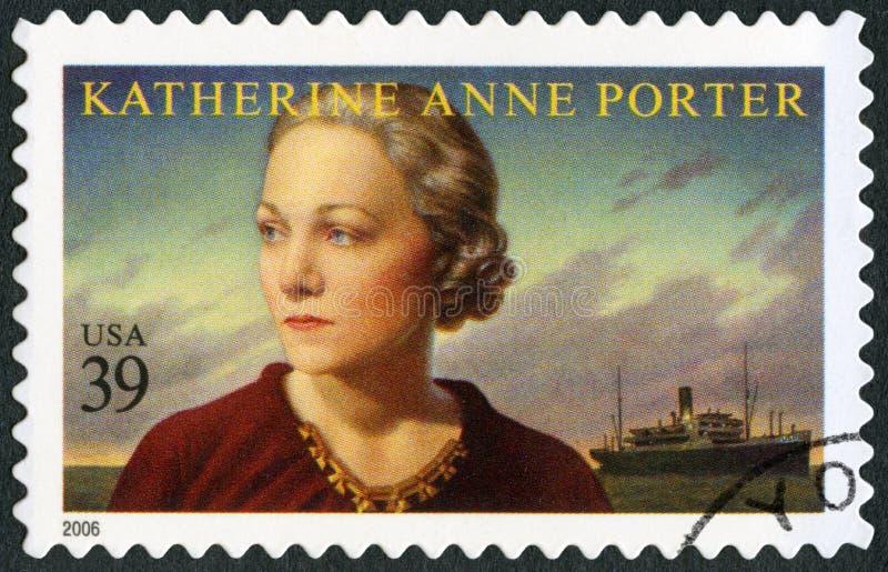 ΗΠΑ - 2006: παρουσιάζει τον αχθοφόρο το 1890-1980 της Katherine Anne, το δημοσιογράφο και συγγραφέα, λογοτεχνική σειρά τεχνών στοκ εικόνες