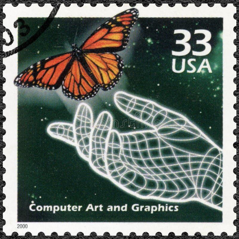 ΗΠΑ - 2000: παρουσιάζει χέρι και η πεταλούδα, παραγμένη υπολογιστής τέχνη, σειρά γιορτάζει τον αιώνα, η δεκαετία του '90 στοκ φωτογραφίες με δικαίωμα ελεύθερης χρήσης