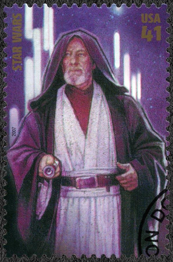 ΗΠΑ - 2007: παρουσιάζει obi-ωχρό Ben Kenobi, πρεμιέρα σειράς πολέμων 30 αστέρων κινηματογράφου επέτειος στοκ εικόνα με δικαίωμα ελεύθερης χρήσης