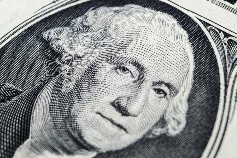 ΗΠΑ πορτρέτο προσώπου Προέδρου George Washington στις ΗΠΑ σημείωση ενός δολαρίου Μακρο πλάνο Υπόβαθρο των χρημάτων George Washing στοκ φωτογραφία με δικαίωμα ελεύθερης χρήσης