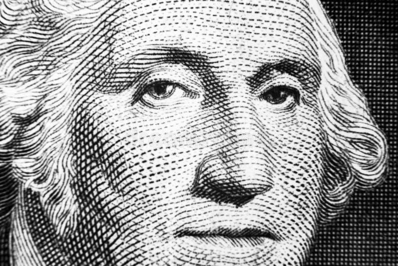ΗΠΑ πορτρέτο προσώπου Προέδρου George Washington στις ΗΠΑ σημείωση ενός δολαρίου Μακρο πλάνο Υπόβαθρο των χρημάτων George Washing στοκ εικόνες