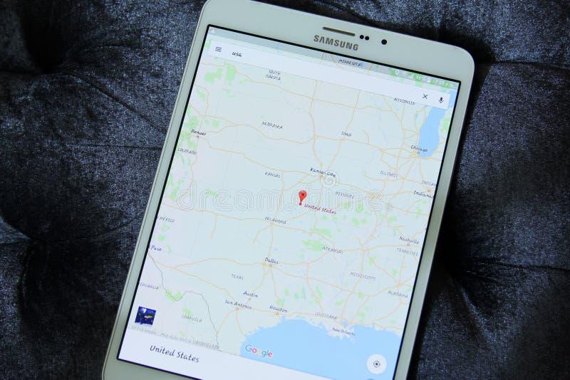 ΗΠΑ στους χάρτες app google στοκ φωτογραφία με δικαίωμα ελεύθερης χρήσης