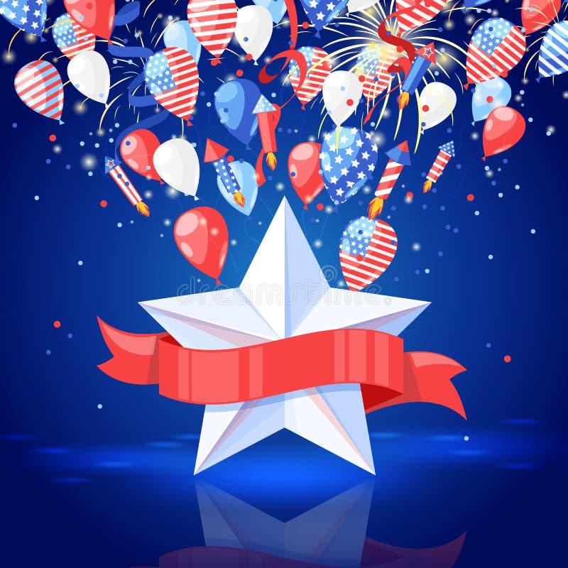 4 ΗΠΑ της ημέρας της ανεξαρτησίας Ιουλίου χρυσό διάνυσμα διακοπών χαιρετισμού λουλουδιών καρτών ανασκόπησης Αστέρι με την κόκκινη διανυσματική απεικόνιση