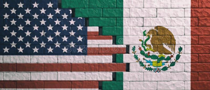 ΗΠΑ των σημαιών της Αμερικής και του Μεξικού στο ραγισμένο υπόβαθρο τοίχων τρισδιάστατη απεικόνιση απεικόνιση αποθεμάτων