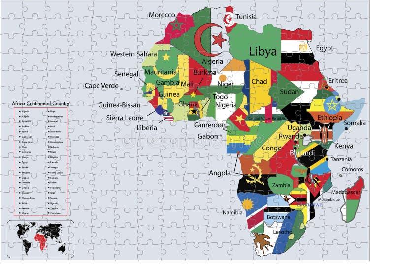 ηπειρωτικός γρίφος χαρτών σημαιών χωρών της Αφρικής ελεύθερη απεικόνιση δικαιώματος