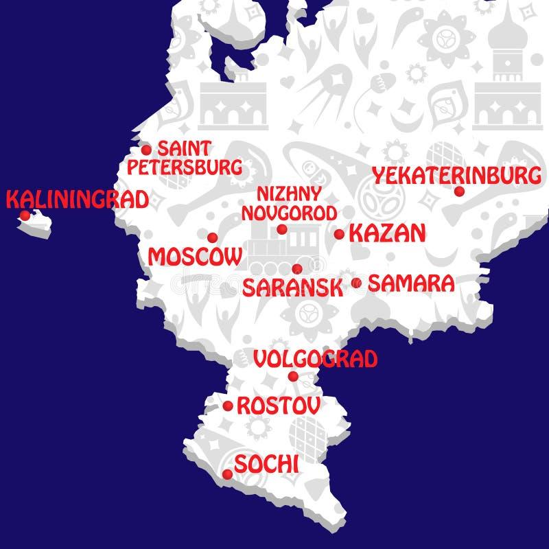 ηπειρωτικός χάρτης πολιτική Ρωσία Παγκόσμιο Κύπελλο διανυσματική απεικόνιση