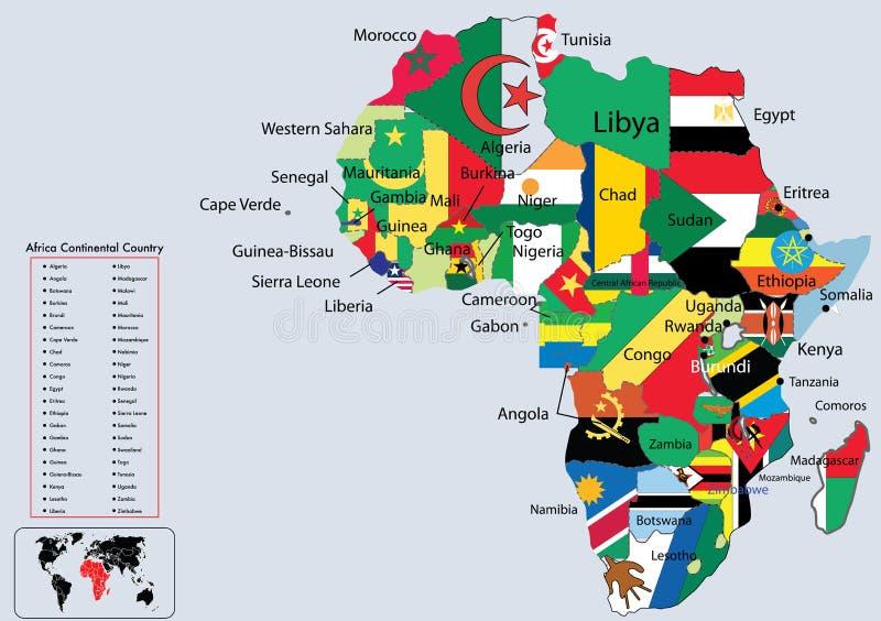 ηπειρωτικός χάρτης σημαιών χωρών της Αφρικής απεικόνιση αποθεμάτων
