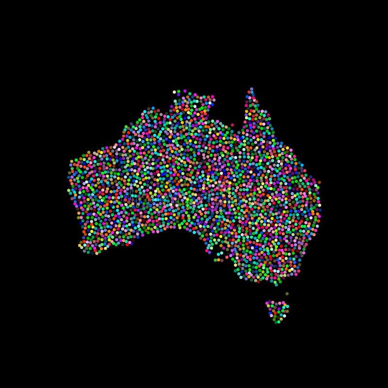 ηπειρωτικός χάρτης της Αυστραλίας πολιτικός Απομονωμένος στη μαύρη ανασκόπηση επίσης corel σύρετε το διάνυσμα απεικόνισης απεικόνιση αποθεμάτων