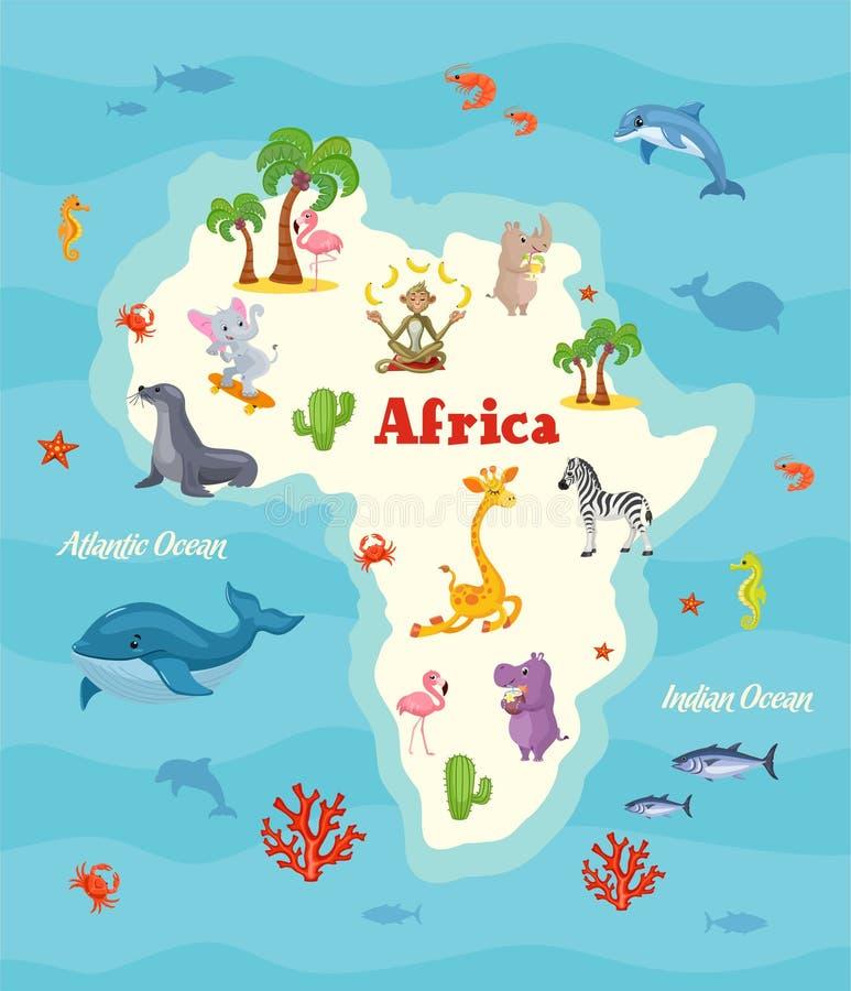 ηπειρωτικός χάρτης της Αφρικής πολιτικός Όμορφη διανυσματική απεικόνιση ελεύθερη απεικόνιση δικαιώματος