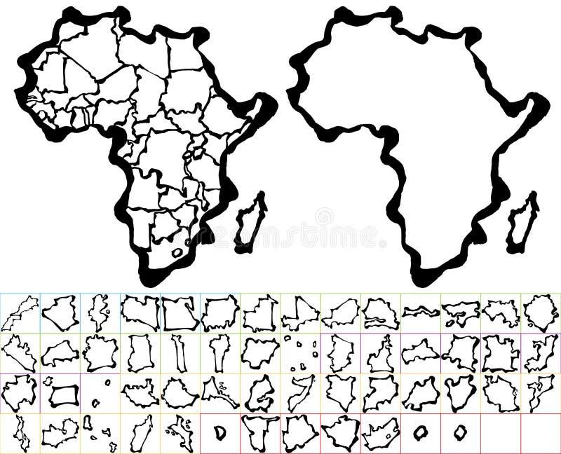 ηπειρωτικός χάρτης της Αφρικής πολιτικός ελεύθερη απεικόνιση δικαιώματος