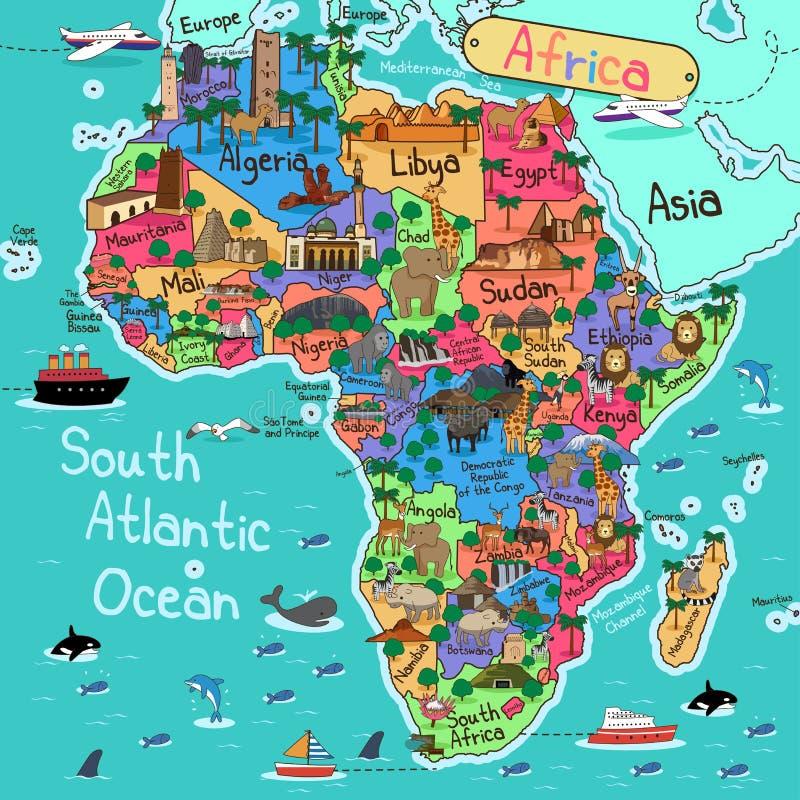 ηπειρωτικός χάρτης της Αφρικής πολιτικός διανυσματική απεικόνιση