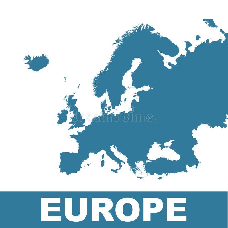 ηπειρωτικός χάρτης της Ευρώπης πολιτικός Επίπεδο διάνυσμα απεικόνιση αποθεμάτων