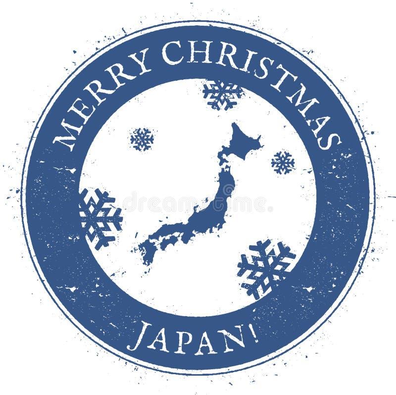ηπειρωτικός χάρτης της Ιαπωνίας πολιτικός Εκλεκτής ποιότητας γραμματόσημο της Ιαπωνίας Χαρούμενα Χριστούγεννας απεικόνιση αποθεμάτων
