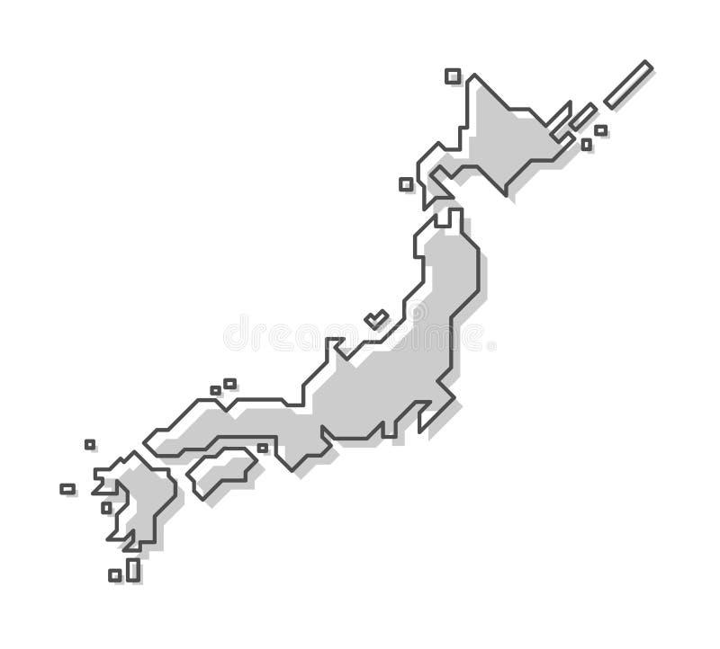 ηπειρωτικός χάρτης της Ιαπωνίας πολιτικός Σύγχρονο απλό ύφος γραμμών διάνυσμα ελεύθερη απεικόνιση δικαιώματος
