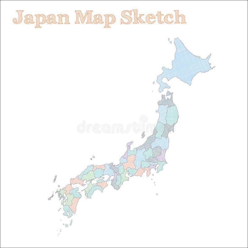 ηπειρωτικός χάρτης της Ιαπωνίας πολιτικός απεικόνιση αποθεμάτων